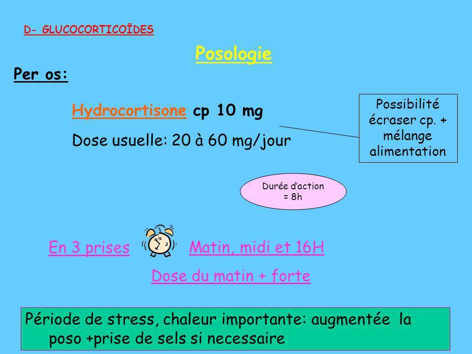 Période de stress, chaleur importante: augmentée la poso +prise de sels si necessaire Possibilité écraser cp. + mélange alimentation Matin, midi et 16