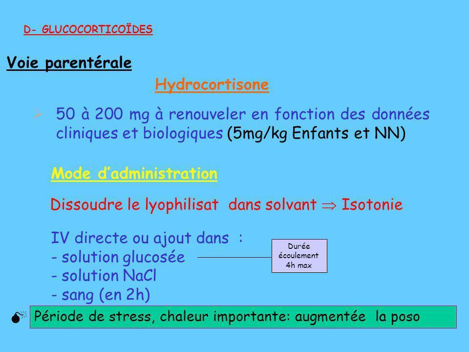 50 à 200 mg à renouveler en fonction des données cliniques et biologiques (5mg/kg Enfants et NN) D- GLUCOCORTICOÏDES Période de stress, chaleur import