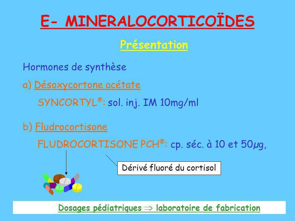 E- MINERALOCORTICOÏDES Hormones de synthèse a) Désoxycortone acétate SYNCORTYL ® : sol. inj. IM 10mg/ml b) Fludrocortisone FLUDROCORTISONE PCH ® : cp.