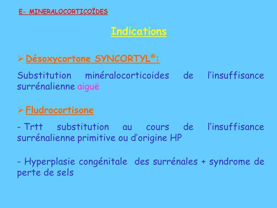 Désoxycortone SYNCORTYL ® : Substitution minéralocorticoides de linsuffisance surrénalienne aiguë Fludrocortisone - Trtt substitution au cours de lins