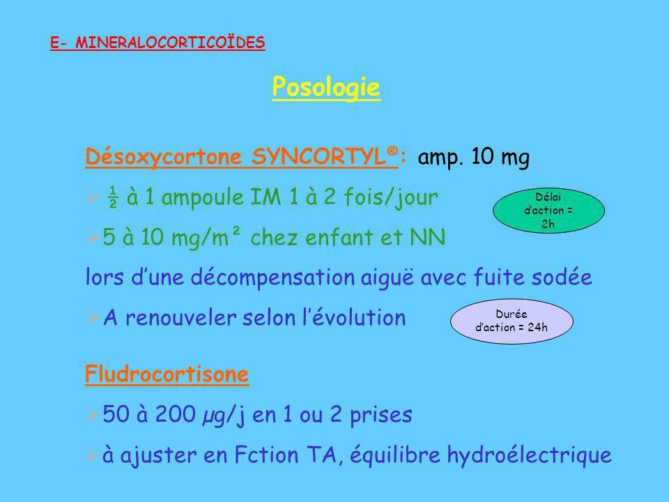 Désoxycortone SYNCORTYL ® : amp. 10 mg ½ à 1 ampoule IM 1 à 2 fois/jour 5 à 10 mg/m² chez enfant et NN lors dune décompensation aiguë avec fuite sodée