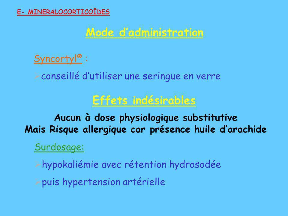Syncortyl ® : conseillé dutiliser une seringue en verre Surdosage: hypokaliémie avec rétention hydrosodée puis hypertension artérielle E- MINERALOCORT