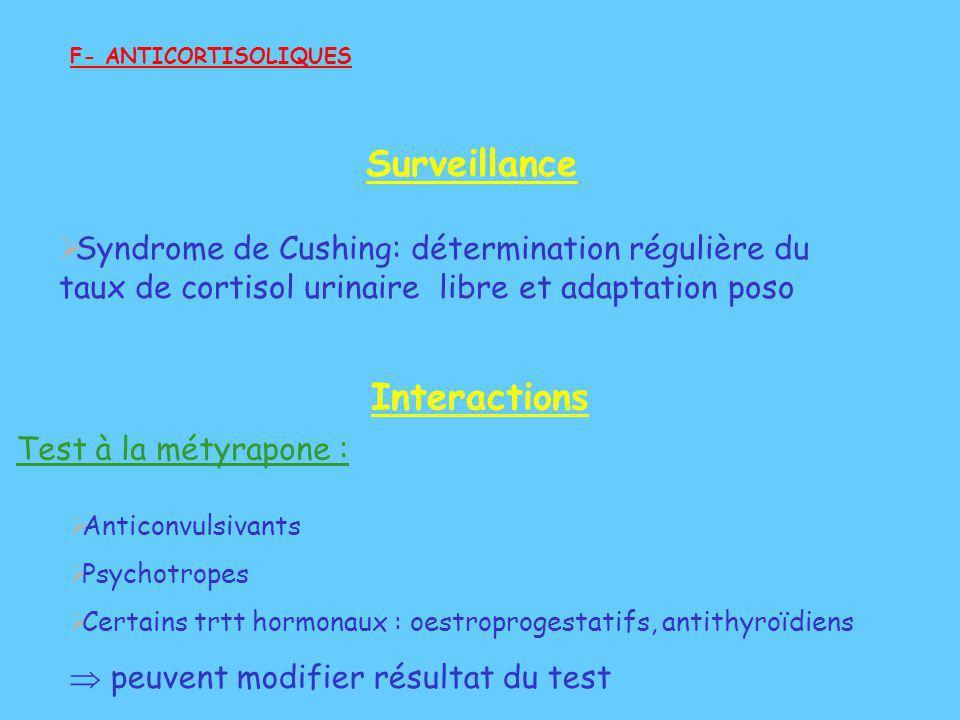 Surveillance Syndrome de Cushing: détermination régulière du taux de cortisol urinaire libre et adaptation poso F- ANTICORTISOLIQUES Interactions Anti