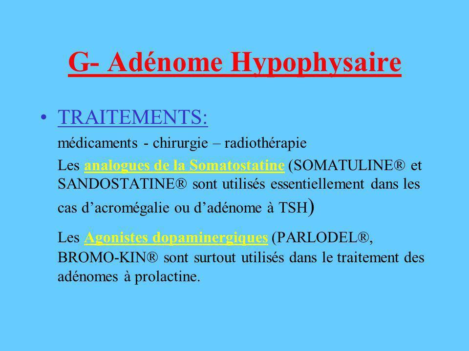 G- Adénome Hypophysaire TRAITEMENTS: médicaments - chirurgie – radiothérapie Les analogues de la Somatostatine (SOMATULINE® et SANDOSTATINE® sont util