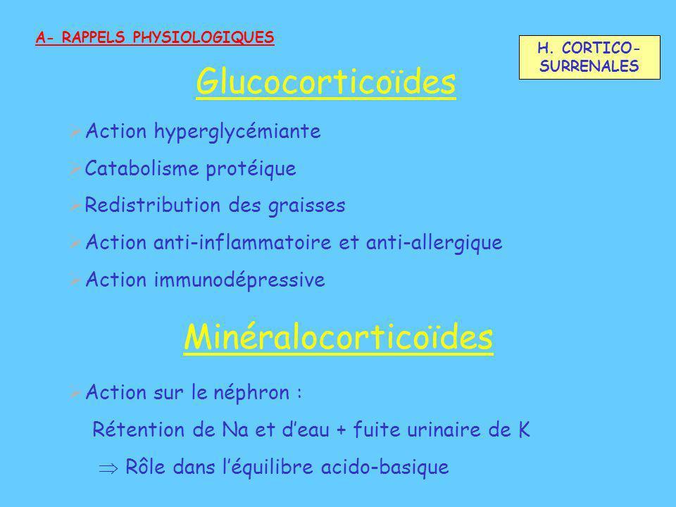 Action hyperglycémiante Catabolisme protéique Redistribution des graisses Action anti-inflammatoire et anti-allergique Action immunodépressive A- RAPP