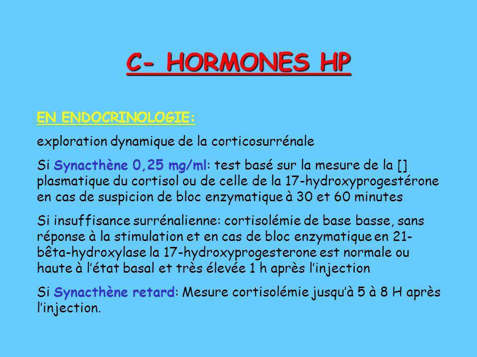 C- HORMONES HP EN ENDOCRINOLOGIE: exploration dynamique de la corticosurrénale Si Synacthène 0,25 mg/ml: test basé sur la mesure de la [] plasmatique