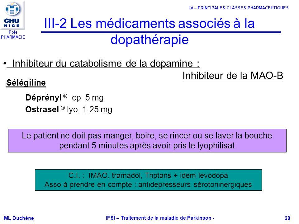Pôle PHARMACIE ML Duchène IFSI – Traitement de la maladie de Parkinson - 28 III-2 Les médicaments associés à la dopathérapie Déprényl ® cp 5 mg Ostras