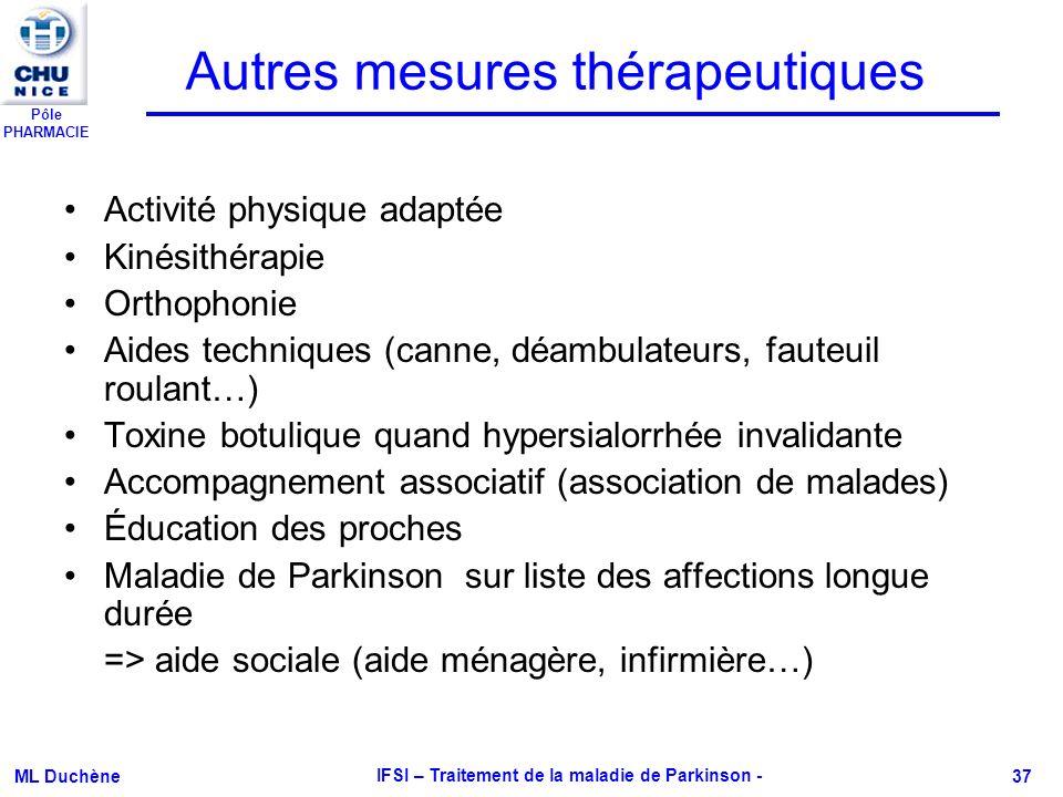 Pôle PHARMACIE ML Duchène IFSI – Traitement de la maladie de Parkinson - 37 Autres mesures thérapeutiques Activité physique adaptée Kinésithérapie Ort