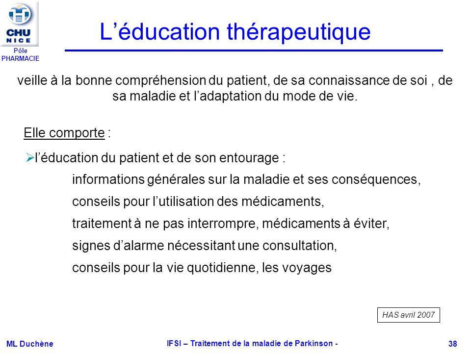 Pôle PHARMACIE ML Duchène IFSI – Traitement de la maladie de Parkinson - 38 Léducation thérapeutique veille à la bonne compréhension du patient, de sa