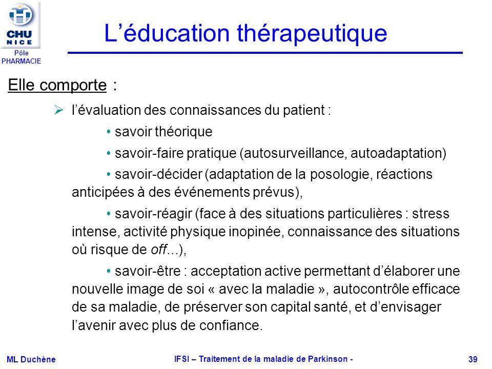 Pôle PHARMACIE ML Duchène IFSI – Traitement de la maladie de Parkinson - 39 Léducation thérapeutique Elle comporte : lévaluation des connaissances du