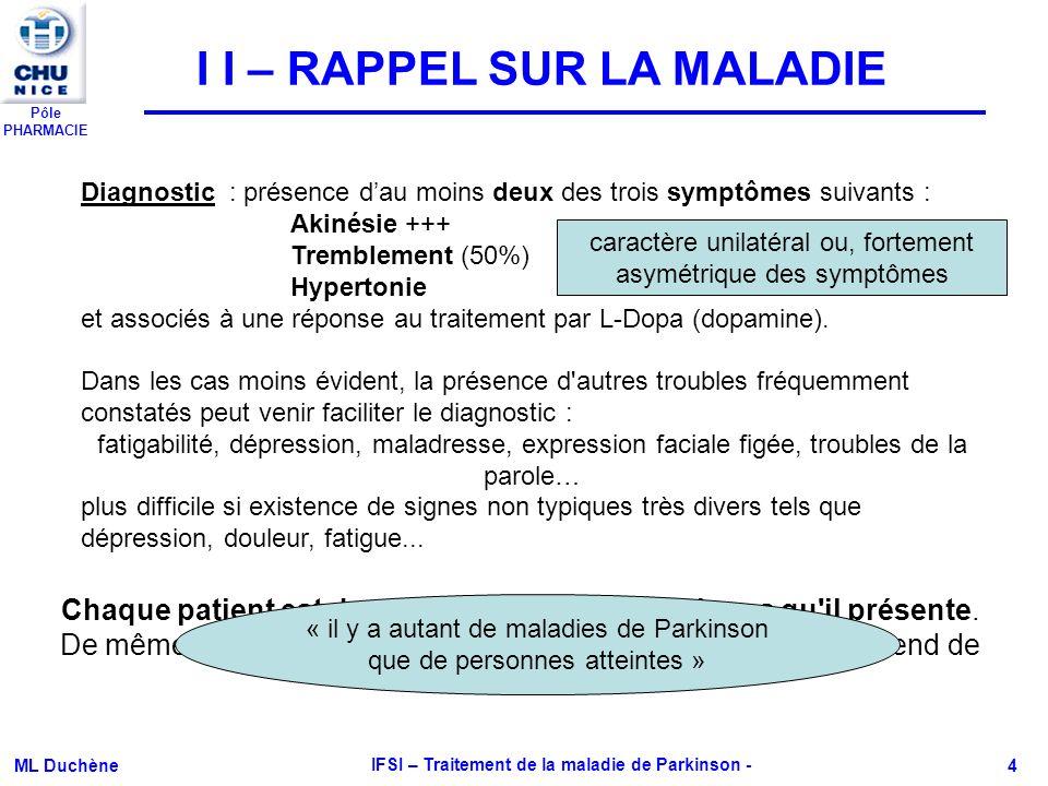 Pôle PHARMACIE ML Duchène IFSI – Traitement de la maladie de Parkinson - 4 I I – RAPPEL SUR LA MALADIE Chaque patient est donc particulier dans les si