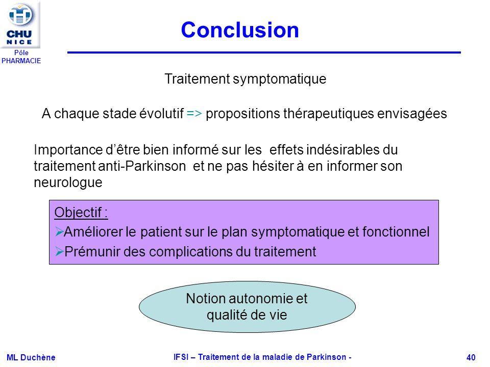 Pôle PHARMACIE ML Duchène IFSI – Traitement de la maladie de Parkinson - 40 Conclusion A chaque stade évolutif => propositions thérapeutiques envisagé