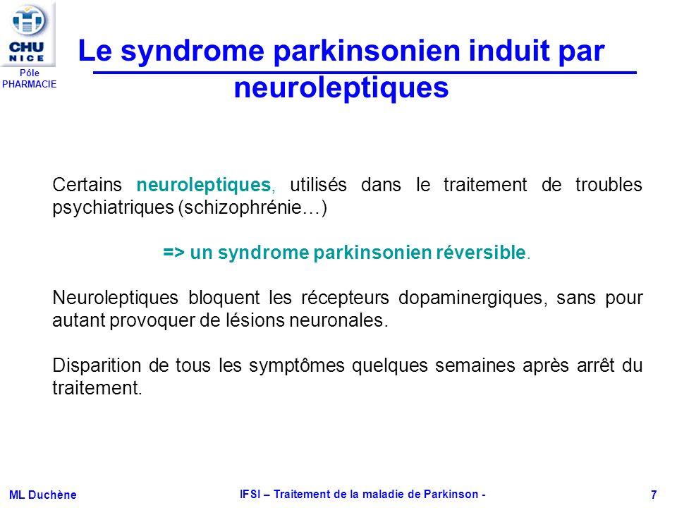 Pôle PHARMACIE ML Duchène IFSI – Traitement de la maladie de Parkinson - 7 Certains neuroleptiques, utilisés dans le traitement de troubles psychiatri