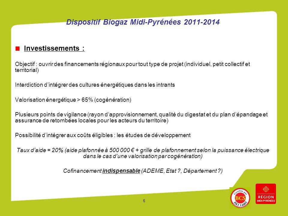 6 Dispositif Biogaz Midi-Pyrénées 2011-2014 Investissements : Objectif : ouvrir des financements régionaux pour tout type de projet (individuel, petit