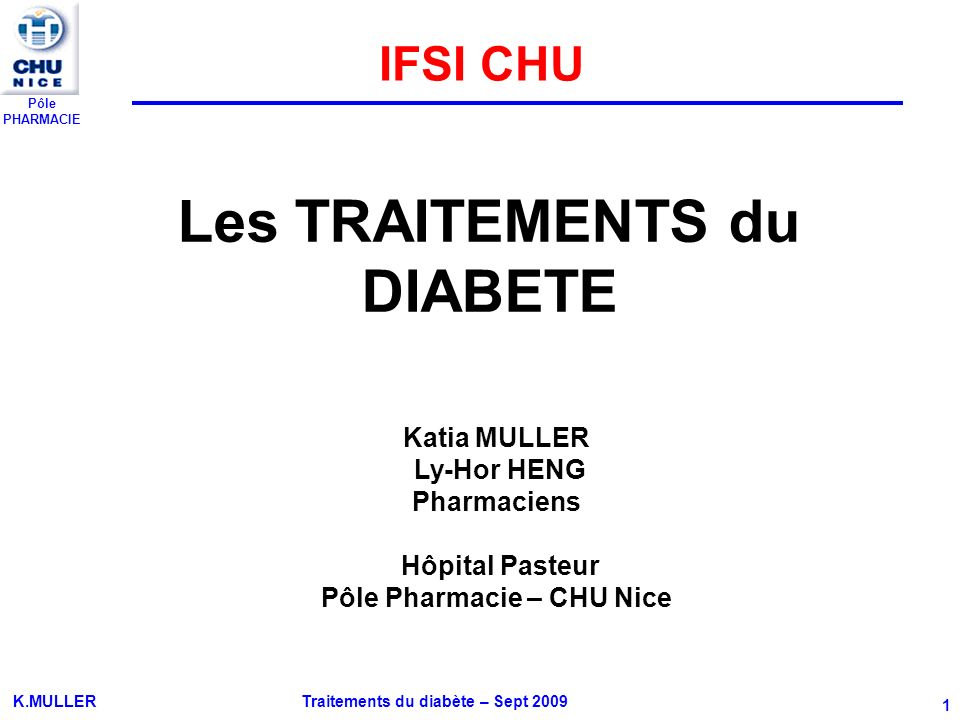 Pôle PHARMACIE K.MULLER Traitements du diabète – Sept 2009 42 II-5 GLINIDES 1.