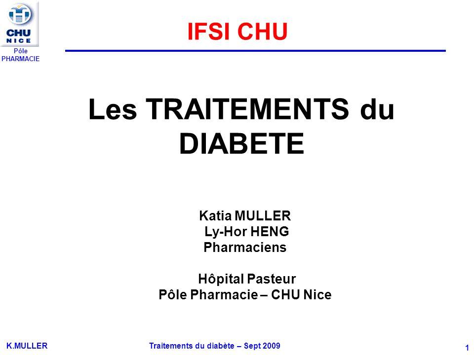 Pôle PHARMACIE K.MULLER Traitements du diabète – Sept 2009 1 Les TRAITEMENTS du DIABETE Katia MULLER Ly-Hor HENG Pharmaciens Hôpital Pasteur Pôle Phar