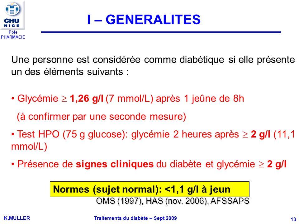Pôle PHARMACIE K.MULLER Traitements du diabète – Sept 2009 13 Une personne est considérée comme diabétique si elle présente un des éléments suivants :