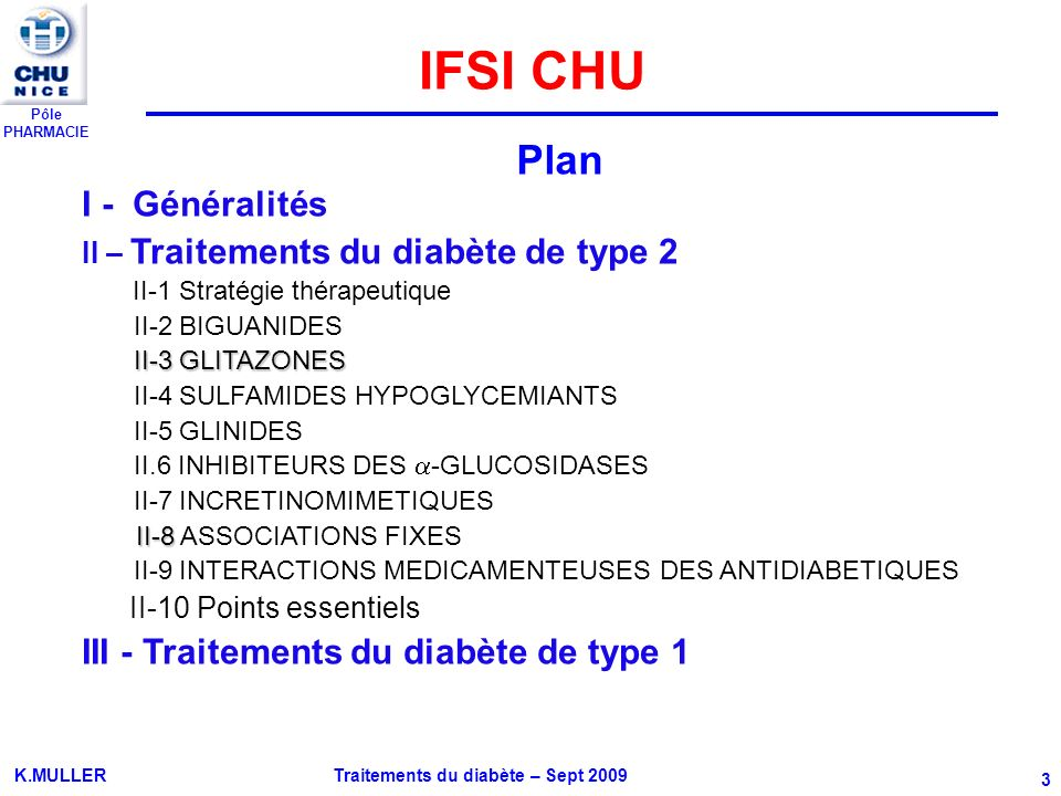 Pôle PHARMACIE K.MULLER Traitements du diabète – Sept 2009 3 I - Généralités II – Traitements du diabète de type 2 II-1 Stratégie thérapeutique II-2 B