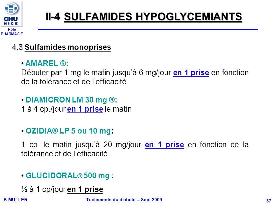 Pôle PHARMACIE K.MULLER Traitements du diabète – Sept 2009 37 AMAREL ®: Débuter par 1 mg le matin jusquà 6 mg/jour en 1 prise en fonction de la toléra