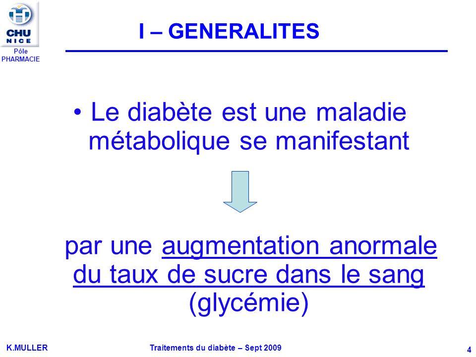 Pôle PHARMACIE K.MULLER Traitements du diabète – Sept 2009 4 I – GENERALITES Le diabète est une maladie métabolique se manifestant par une augmentatio