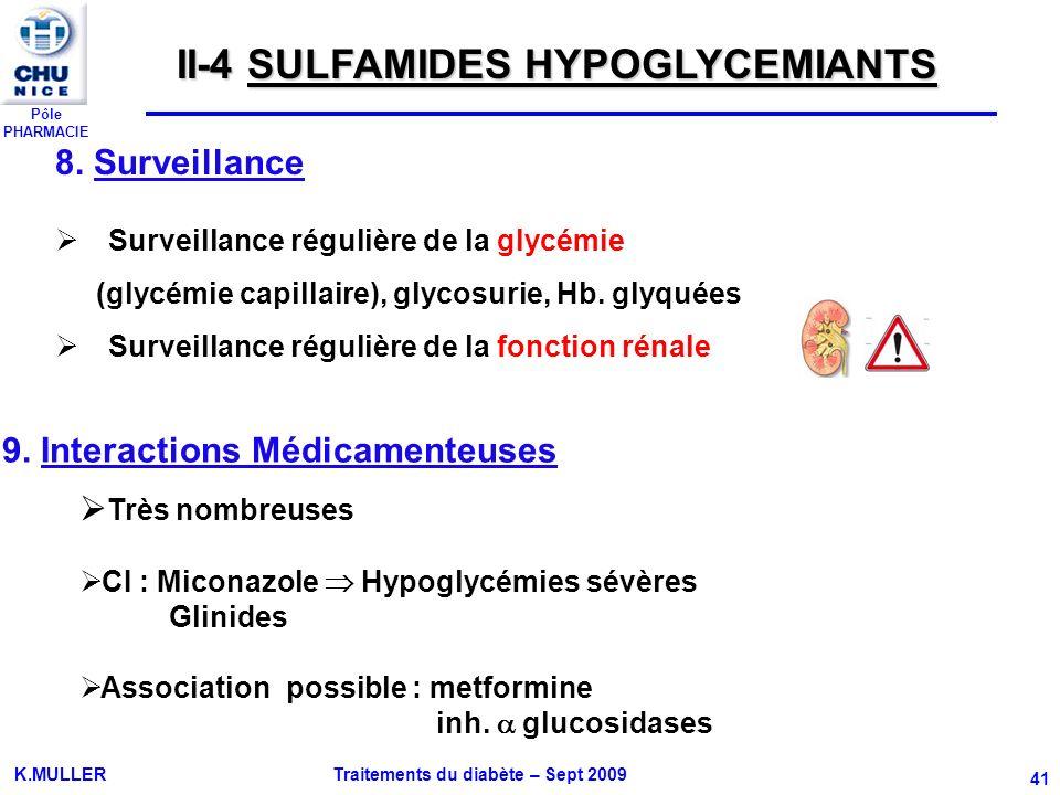 Pôle PHARMACIE K.MULLER Traitements du diabète – Sept 2009 41 8. Surveillance Surveillance régulière de la glycémie (glycémie capillaire), glycosurie,