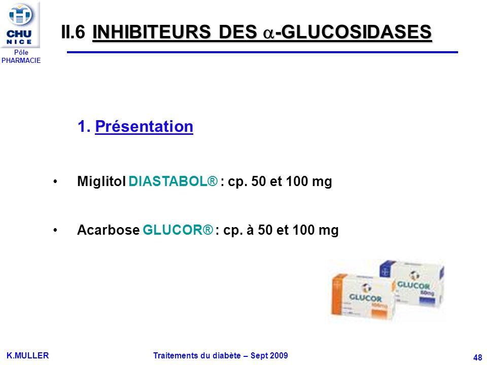 Pôle PHARMACIE K.MULLER Traitements du diabète – Sept 2009 48 INHIBITEURS DES -GLUCOSIDASES II.6 INHIBITEURS DES -GLUCOSIDASES 1. Présentation Miglito