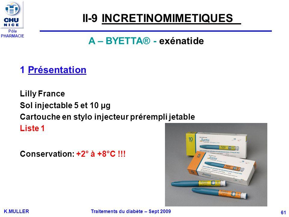 Pôle PHARMACIE K.MULLER Traitements du diabète – Sept 2009 61 A – BYETTA® - exénatide 1 Présentation Lilly France Sol injectable 5 et 10 µg Cartouche