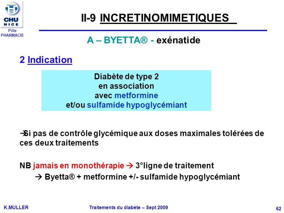 Pôle PHARMACIE K.MULLER Traitements du diabète – Sept 2009 62 2 Indication Si pas de contrôle glycémique aux doses maximales tolérées de ces deux trai