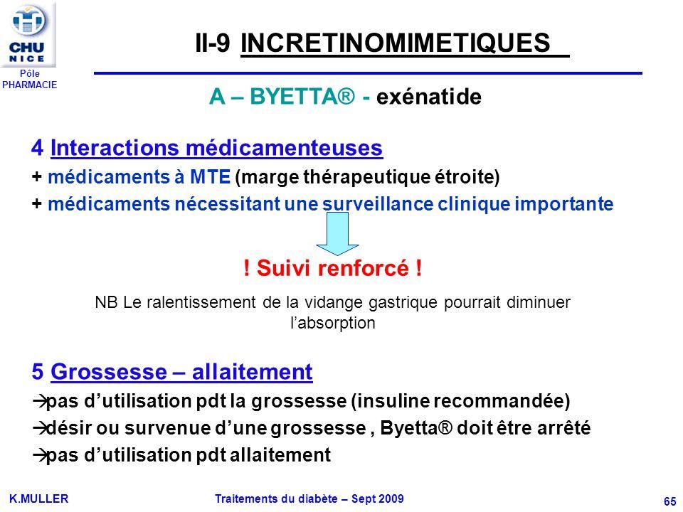 Pôle PHARMACIE K.MULLER Traitements du diabète – Sept 2009 65 4 Interactions médicamenteuses + médicaments à MTE (marge thérapeutique étroite) + médic