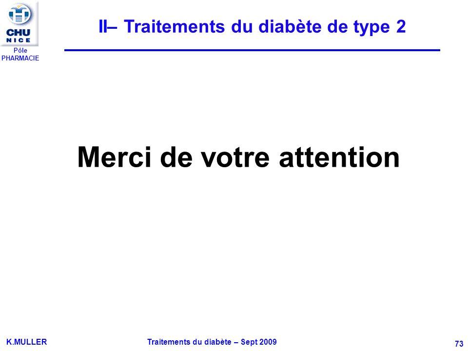 Pôle PHARMACIE K.MULLER Traitements du diabète – Sept 2009 73 Merci de votre attention II– Traitements du diabète de type 2