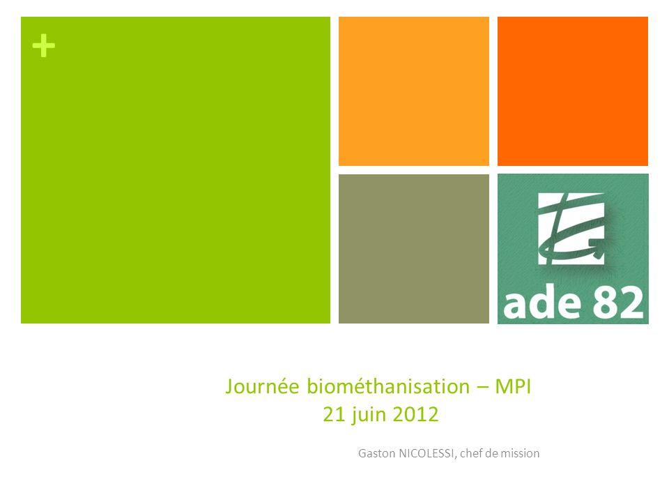 + Journée biométhanisation – MPI 21 juin 2012 Gaston NICOLESSI, chef de mission