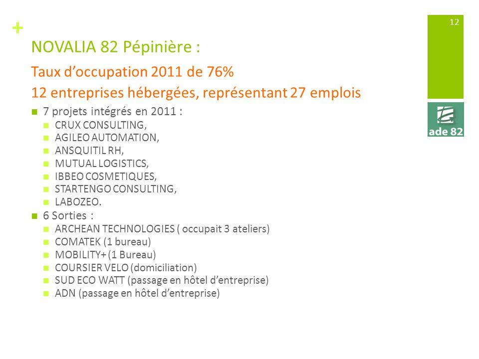 + NOVALIA 82 Pépinière : 7 projets intégrés en 2011 : CRUX CONSULTING, AGILEO AUTOMATION, ANSQUITIL RH, MUTUAL LOGISTICS, IBBEO COSMETIQUES, STARTENGO CONSULTING, LABOZEO.