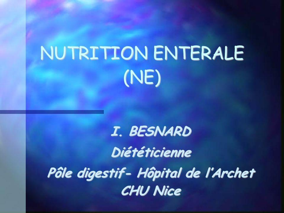 NUTRITION ENTERALE (NE) NUTRITION ENTERALE (NE) I. BESNARD Diététicienne Pôle digestif- Hôpital de lArchet CHU Nice