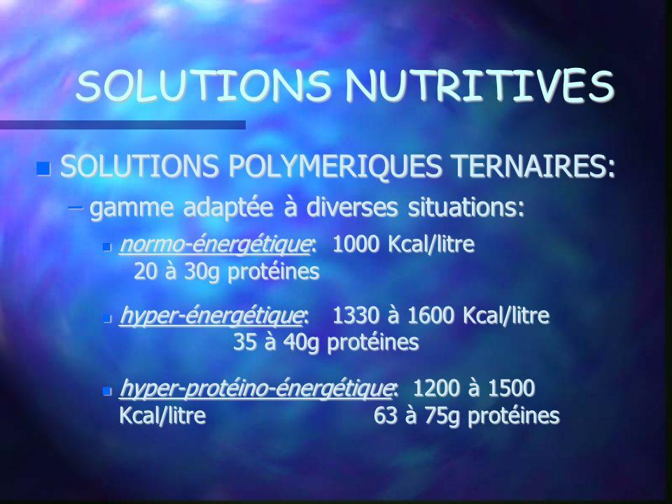 SOLUTIONS NUTRITIVES SOLUTIONS POLYMERIQUES TERNAIRES: SOLUTIONS POLYMERIQUES TERNAIRES: –gamme adaptée à diverses situations: normo-énergétique: 1000