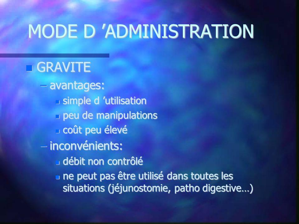 MODE D ADMINISTRATION GRAVITE GRAVITE –avantages: simple d utilisation simple d utilisation peu de manipulations peu de manipulations coût peu élevé c