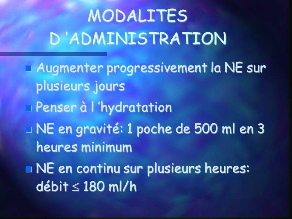 MODALITES D ADMINISTRATION Augmenter progressivement la NE sur plusieurs jours Augmenter progressivement la NE sur plusieurs jours Penser à l hydratat