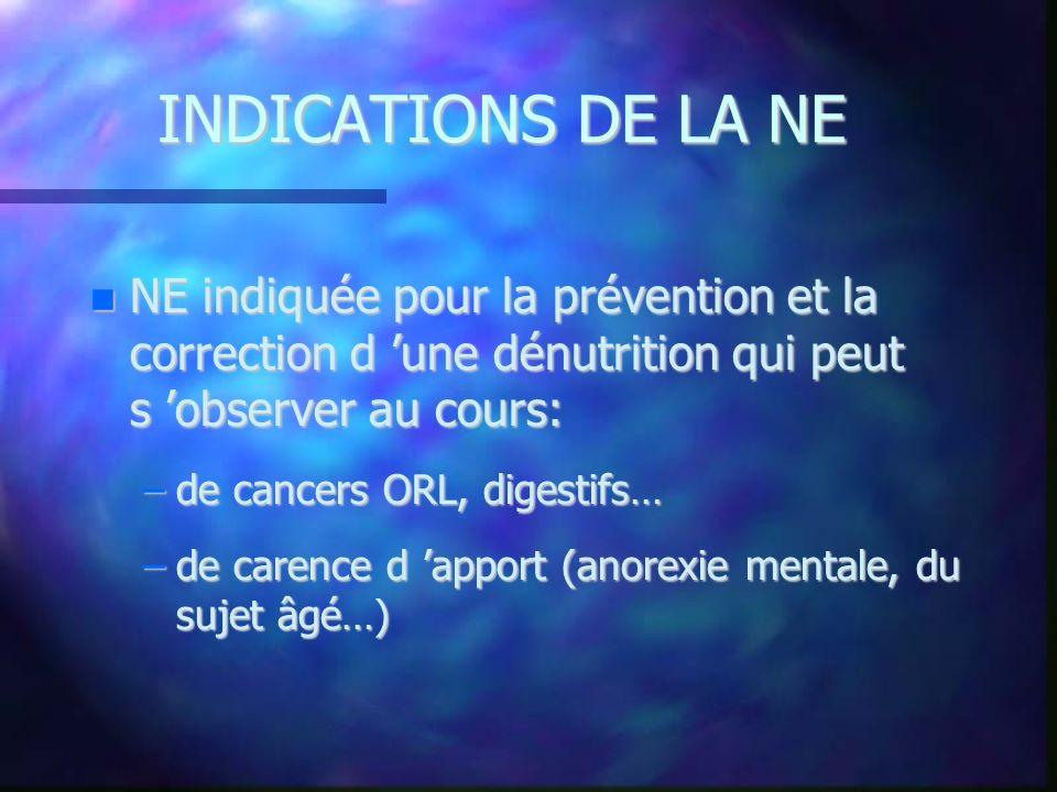 INDICATIONS DE LA NE NE indiquée pour la prévention et la correction d une dénutrition qui peut s observer au cours: NE indiquée pour la prévention et