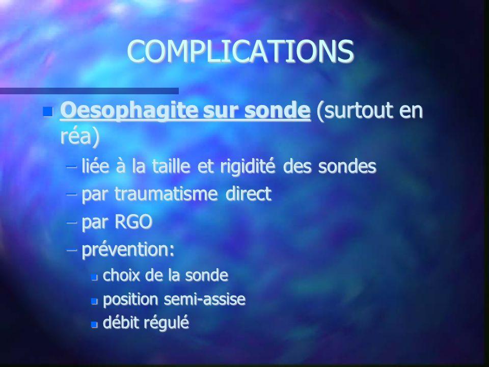 COMPLICATIONS Oesophagite sur sonde (surtout en réa) Oesophagite sur sonde (surtout en réa) –liée à la taille et rigidité des sondes –par traumatisme