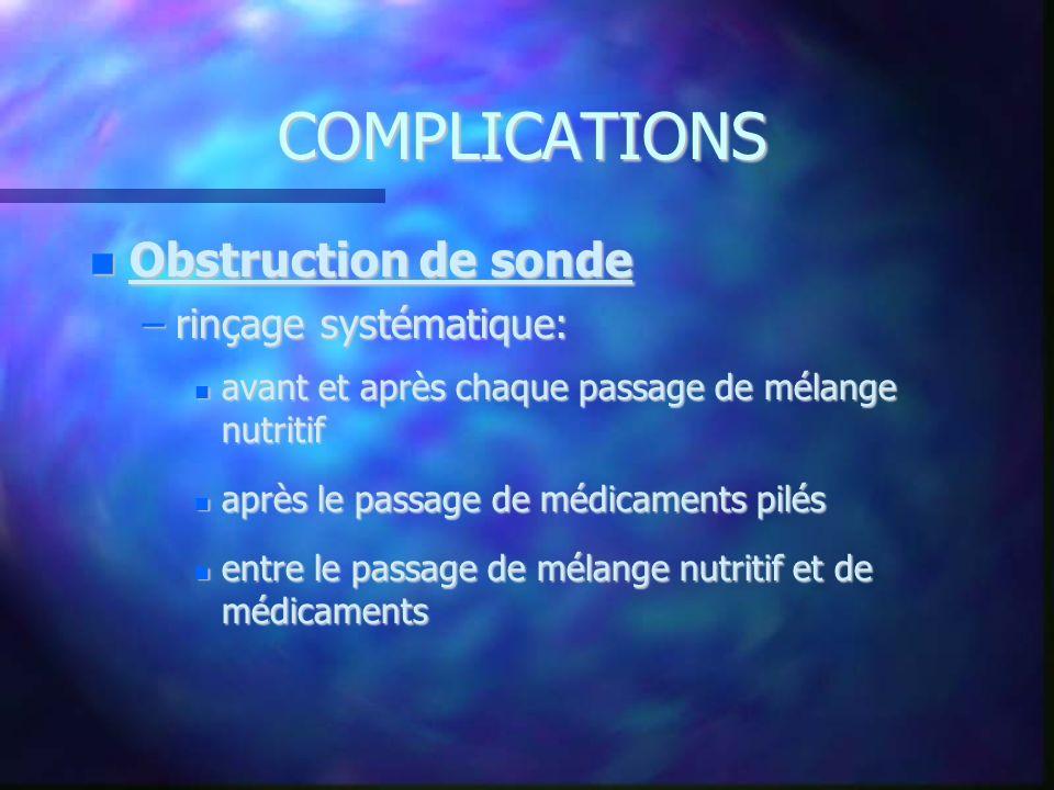 COMPLICATIONS Obstruction de sonde Obstruction de sonde –rinçage systématique: avant et après chaque passage de mélange nutritif avant et après chaque