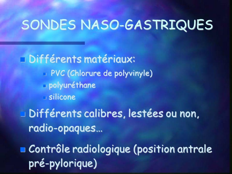 SONDES NASO-GASTRIQUES Différents matériaux: Différents matériaux: PVC (Chlorure de polyvinyle) PVC (Chlorure de polyvinyle) polyuréthane polyuréthane