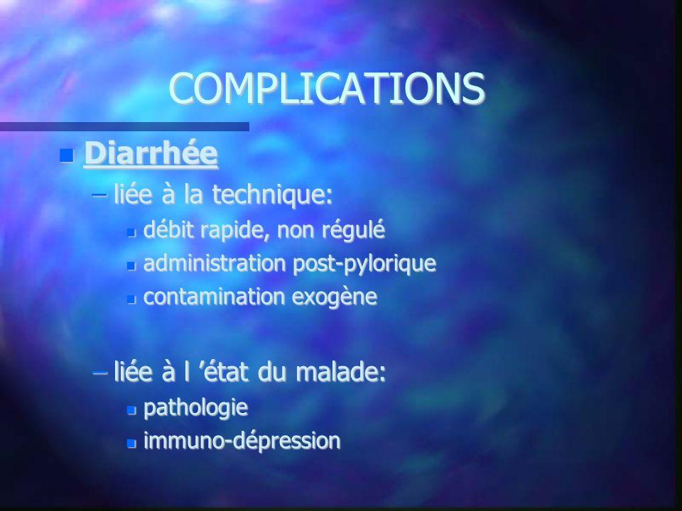 COMPLICATIONS Diarrhée Diarrhée –liée à la technique: débit rapide, non régulé débit rapide, non régulé administration post-pylorique administration p