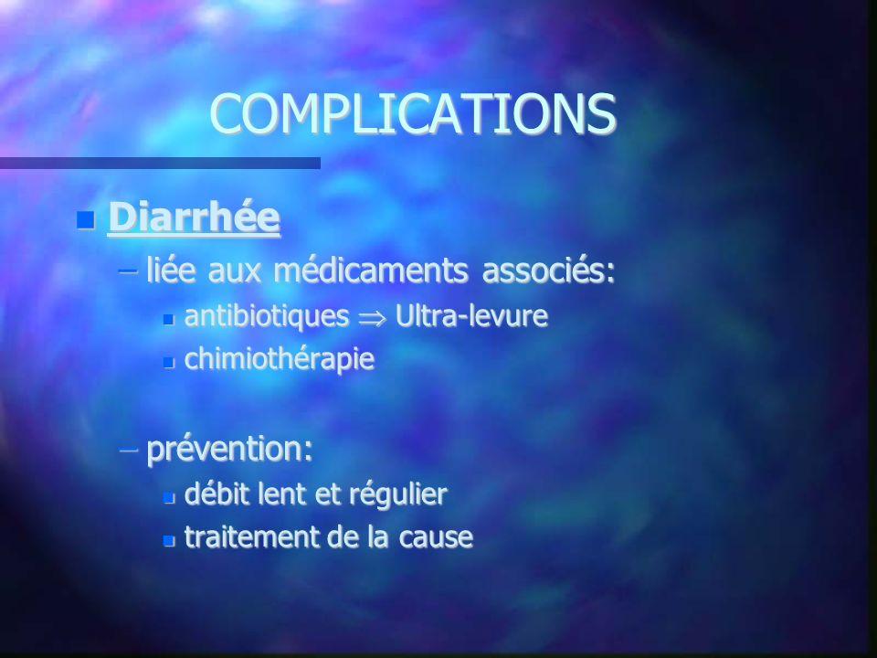 COMPLICATIONS Diarrhée Diarrhée –liée aux médicaments associés: antibiotiques Ultra-levure antibiotiques Ultra-levure chimiothérapie chimiothérapie –p