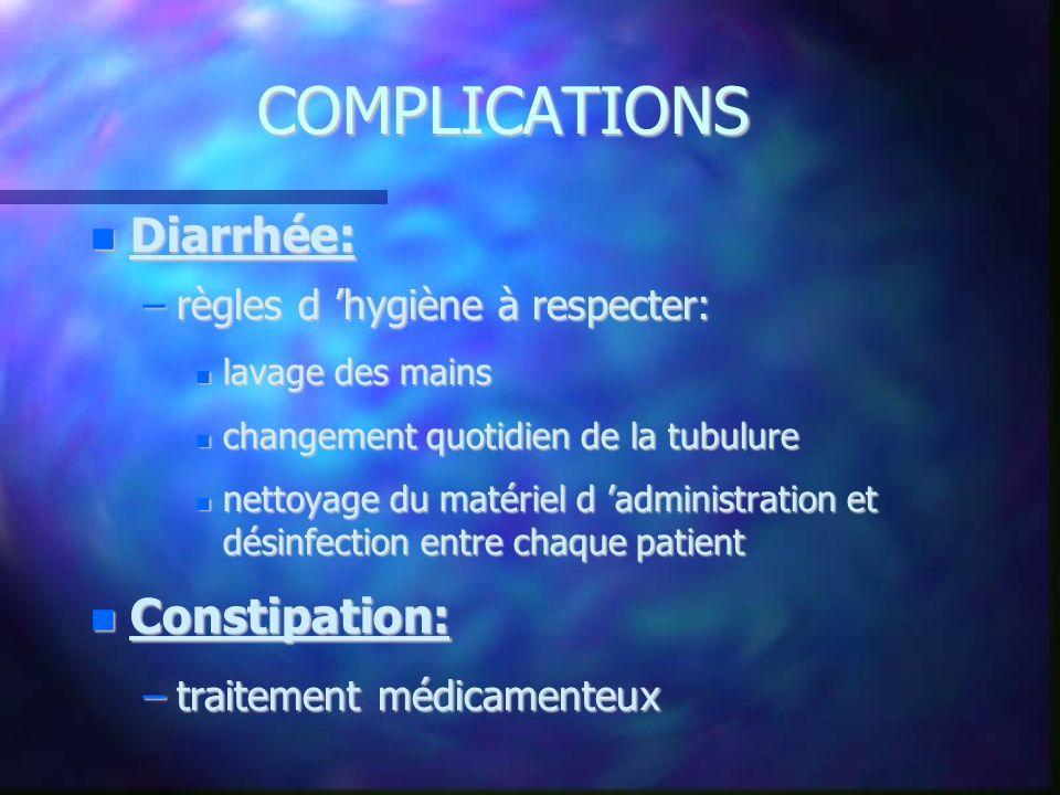 COMPLICATIONS Diarrhée: Diarrhée: –règles d hygiène à respecter: lavage des mains lavage des mains changement quotidien de la tubulure changement quot