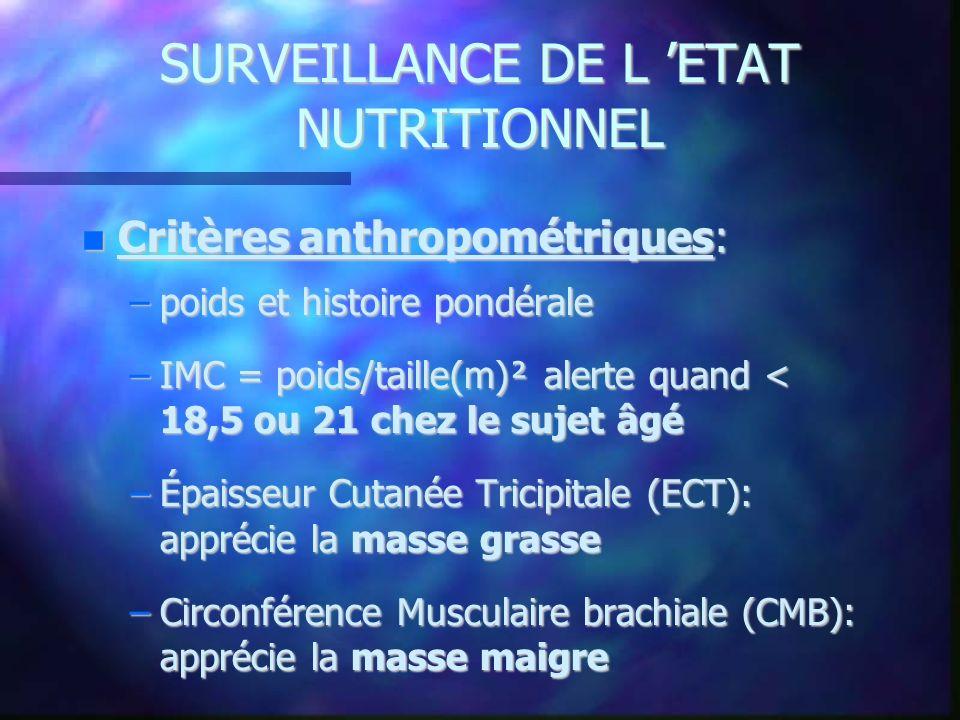 SURVEILLANCE DE L ETAT NUTRITIONNEL Critères anthropométriques: Critères anthropométriques: –poids et histoire pondérale –IMC = poids/taille(m)² alert
