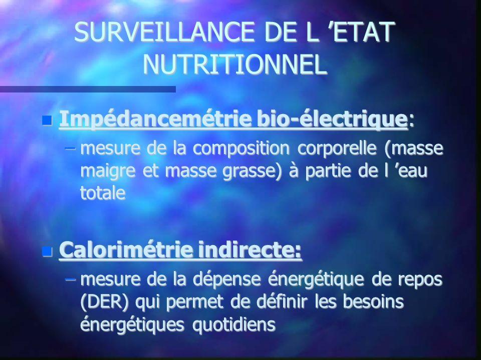 SURVEILLANCE DE L ETAT NUTRITIONNEL Impédancemétrie bio-électrique: Impédancemétrie bio-électrique: –mesure de la composition corporelle (masse maigre