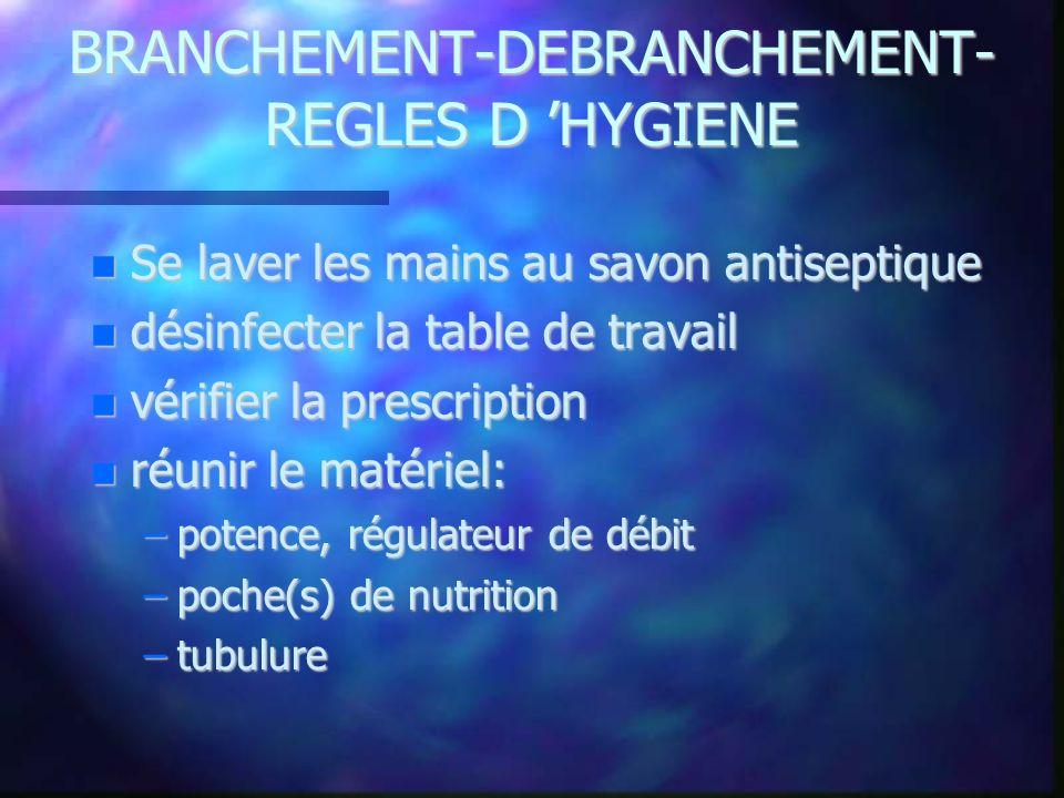 BRANCHEMENT-DEBRANCHEMENT- REGLES D HYGIENE Se laver les mains au savon antiseptique Se laver les mains au savon antiseptique désinfecter la table de