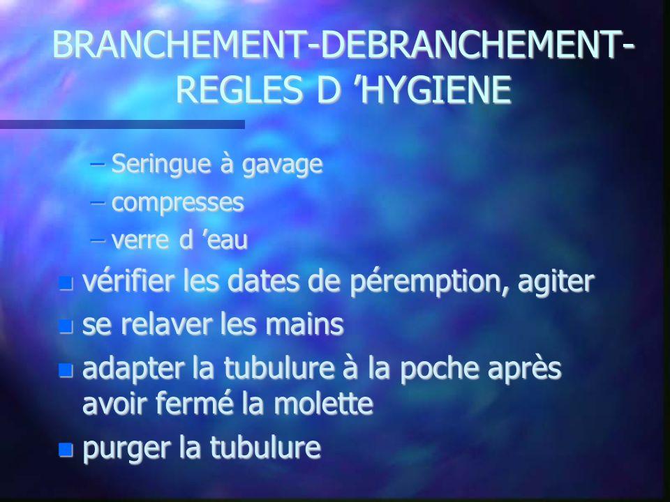 BRANCHEMENT-DEBRANCHEMENT- REGLES D HYGIENE –Seringue à gavage –compresses –verre d eau vérifier les dates de péremption, agiter vérifier les dates de