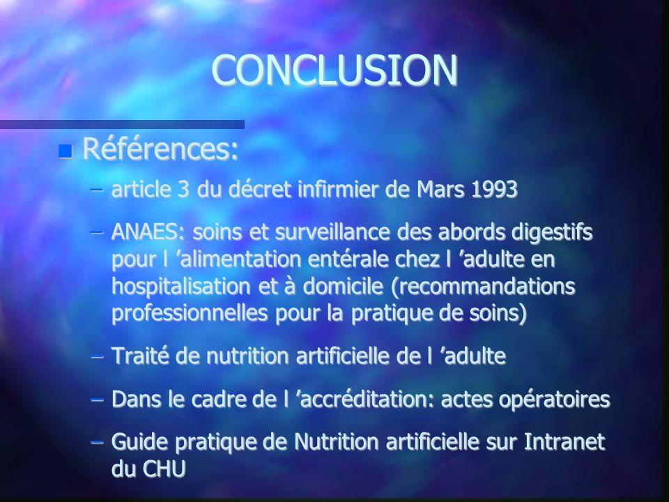 CONCLUSION Références: Références: –article 3 du décret infirmier de Mars 1993 –ANAES: soins et surveillance des abords digestifs pour l alimentation
