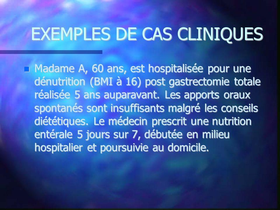 EXEMPLES DE CAS CLINIQUES Madame A, 60 ans, est hospitalisée pour une dénutrition (BMI à 16) post gastrectomie totale réalisée 5 ans auparavant. Les a