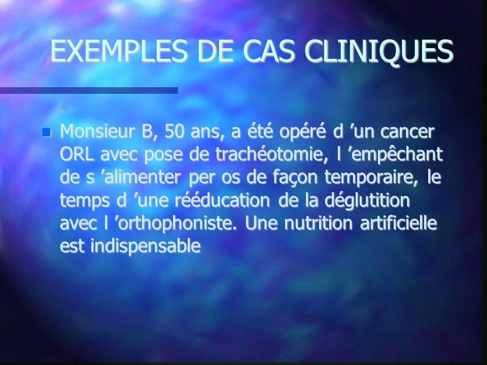 EXEMPLES DE CAS CLINIQUES Monsieur B, 50 ans, a été opéré d un cancer ORL avec pose de trachéotomie, l empêchant de s alimenter per os de façon tempor